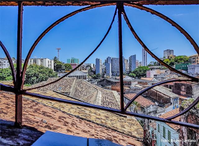 Vista do Centro Histórico de Salvador do Restaurante Mini Cacique, Salvador