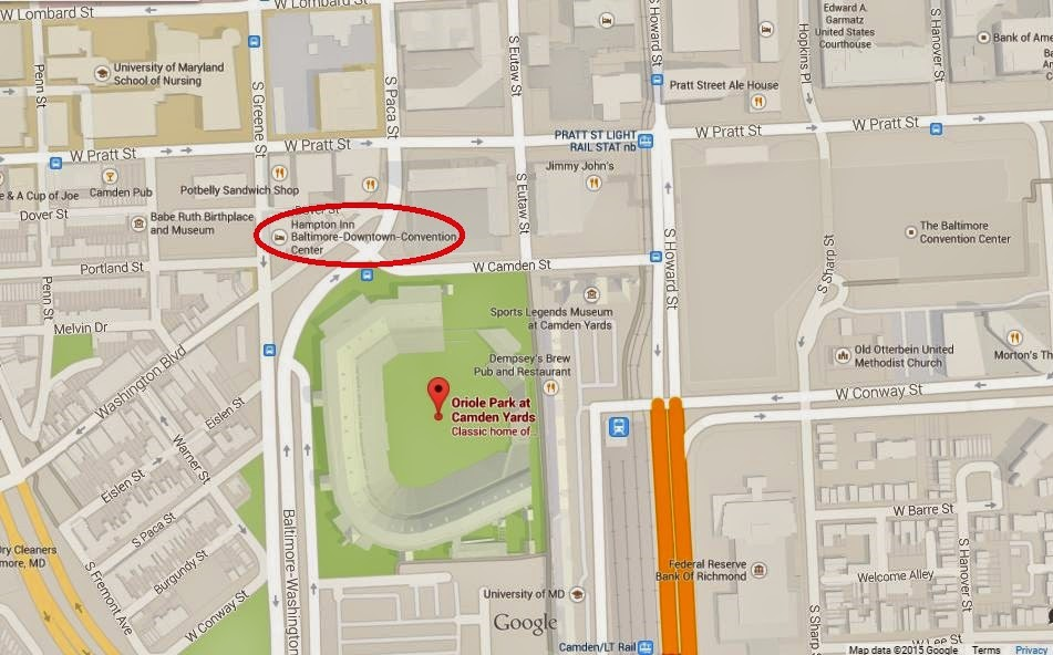 Map showing Hampton Inn Baltimore Downtown Convention Center 200 feet from Oriole Park at Camden Yards