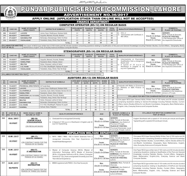 Jobs in Punjab Public Service Commission 36/2017