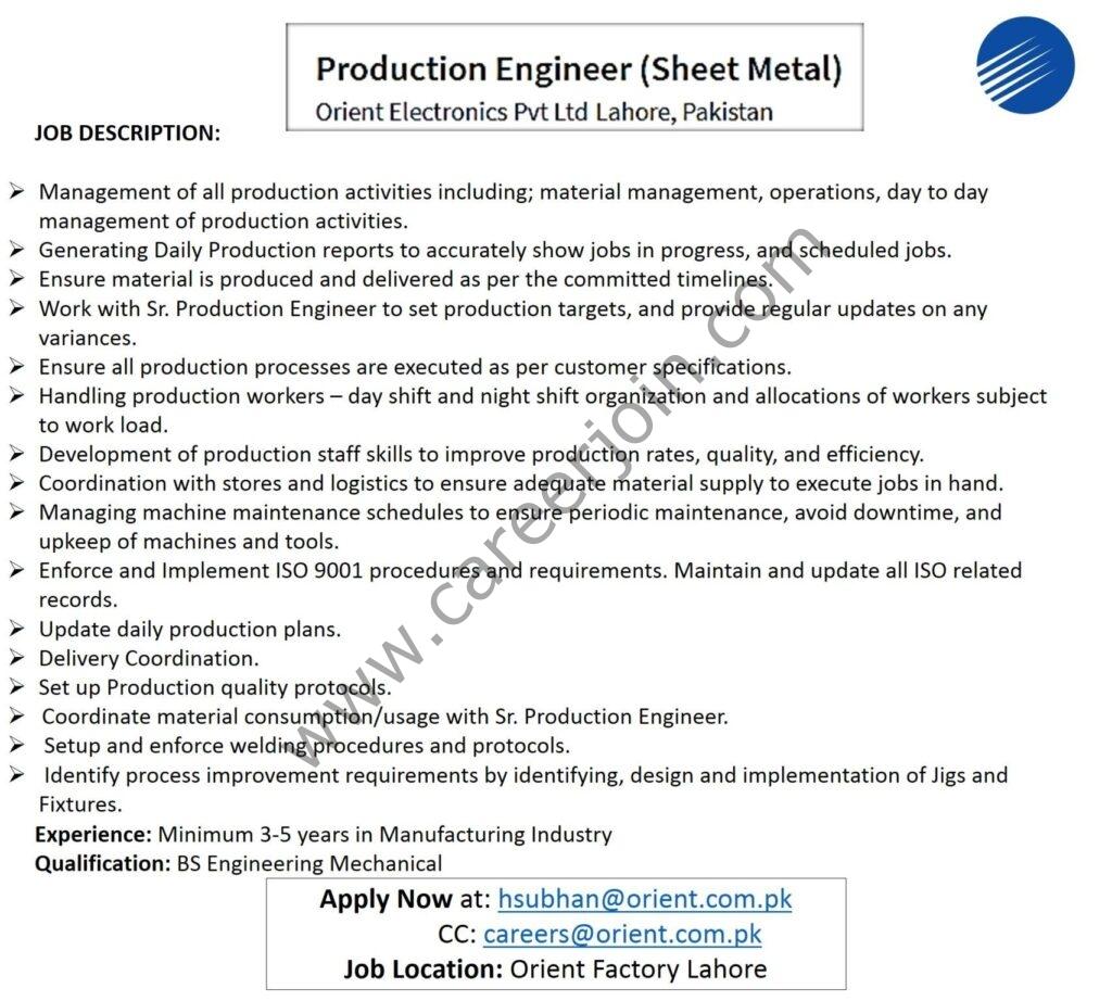 hsubhan@orient.com.pk - Orient Electronics Pvt Ltd Jobs 2021 in Pakistan
