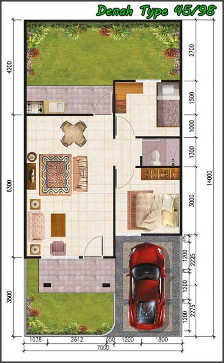 gambar denah rumah minimalis type 45/98