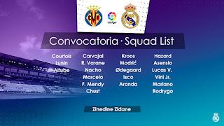 Los convocados por Zidane para visitar al Villarreal