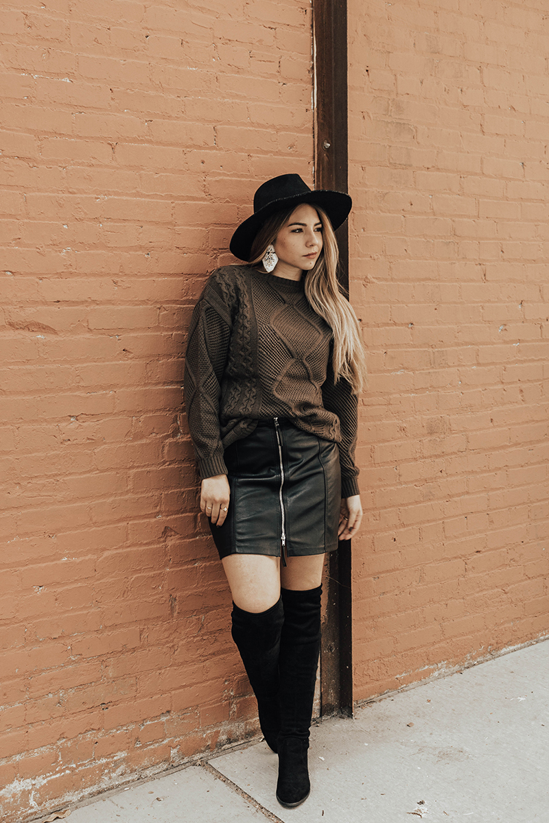 fall outfit with faux leather skirt, faux leather skirt, gentle fawn