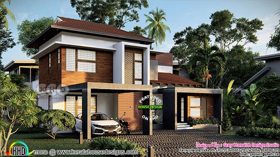 Modern house side view rendering