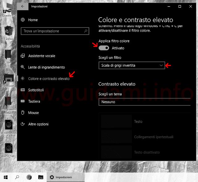 Windows 10 Impostazioni filtro colore e contrasto elevato