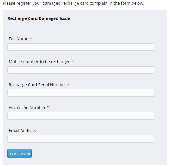 Ncell Recharge Card Damaged Form