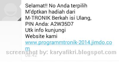 Sms penipuan dari penipu yang menggunakan jasa jimdo.com (screenshot by karyafikri.blogspot.com)