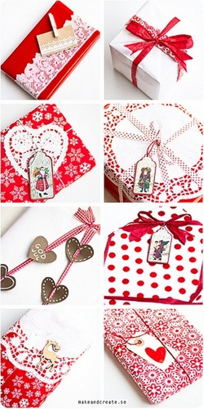 colorful various red and white Christmas gift wrapping