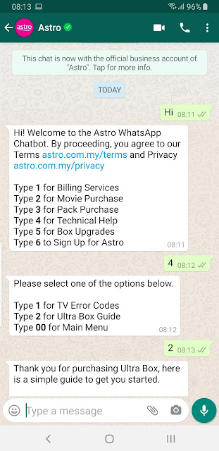 Astro WhatsApp Official Business Account