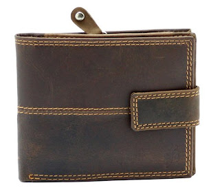 Mens Brown Distressed Hunter Leather Wallet With Secure Zip Coin Pocket & ID Window Gift Boxed By Starhide – £11.04