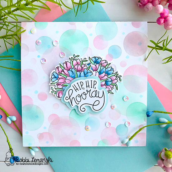 Hip, hip hooray by Bobbi features Bokeh, Loads of Blooms, and Uplifting Wishes by Newton's Nook Designs; #newtonsnook