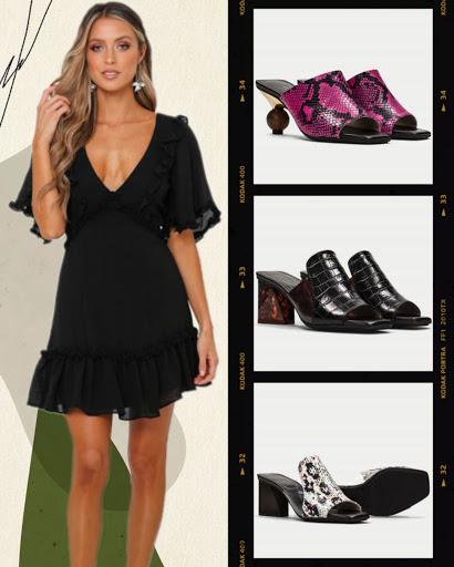 Cómo combinar un little black dress con mules