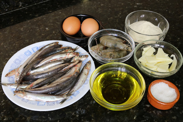 Ingredientes para boquerones rellenos