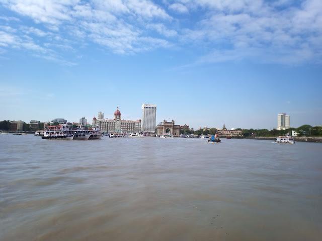 View of Mumbai shoreline from the Arabian Sea, including Gateway of India