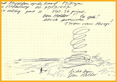 Eerste schets voor de 'Toren van Hoop', een virtueel monument in de Helderse duinen.