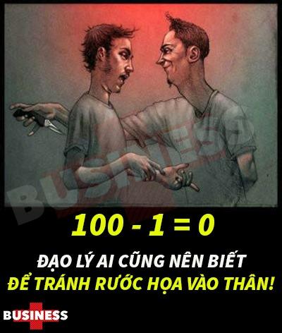 ĐẠO LÝ 100 - 1 = 0 AI CŨNG NÊN BIẾT ĐỂ TRÁNH RƯỚC HỌA VÀO THÂN!