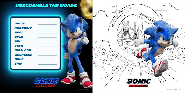sonic the hedgehog movie activity sheets unscramble word puzzle