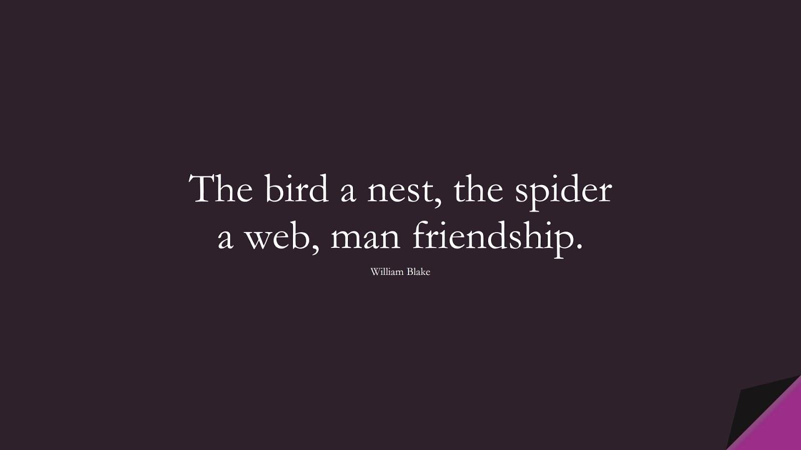 The bird a nest, the spider a web, man friendship. (William Blake);  #FriendshipQuotes