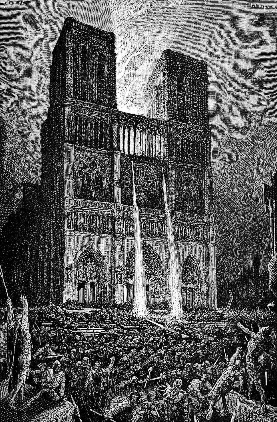 Notre-Dame and the crowd, an illustration by Victor Hugo, pouring boiling water on the crowd