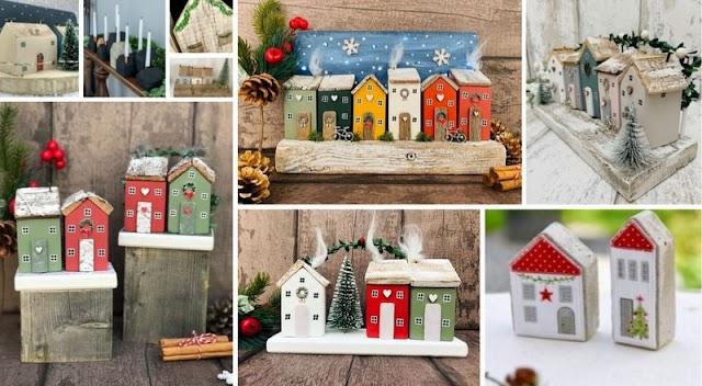 DIY Ξύλινα Χριστουγεννιάτικα Σπιτάκια - Χωριά