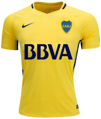 Boca Juniors 2017-18 Away Men Soccer Jersey Personalized Yellow