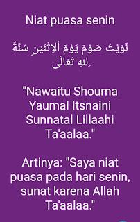 Bacaan niat puasa senin bahasa Arab dan Indonesia