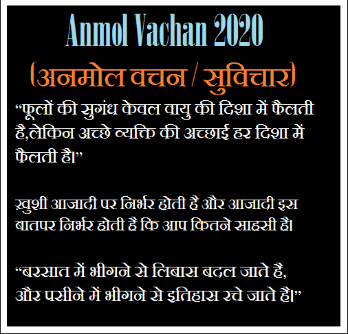 Anmol Vachan 2020 (अनमोल वचन / सुविचार) - Sabase Achchhe Dil Ko Chhoo lene vaale Anamol Vachan / Suvichaar