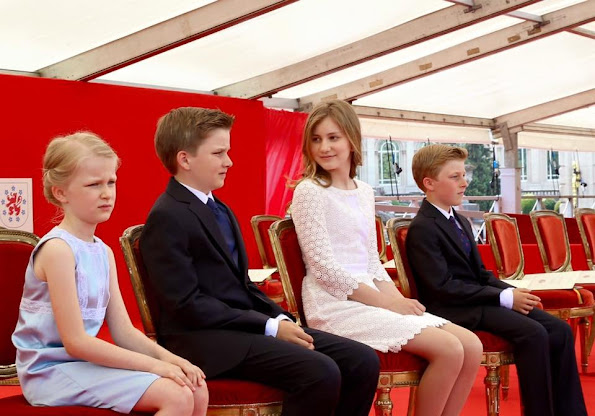 King Philippe, Queen Mathilde, Crown Princess Elisabeth, Princess Eleonore, Prince Gabriel, Prince Emmanuel of Belgium