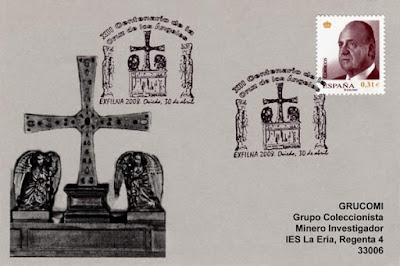 filatelia, matasellos, Oviedo, exfilna, Cruz de los Ángeles