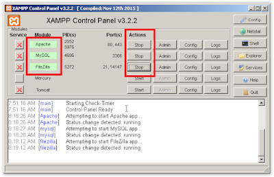 XAMPP Web Server Running
