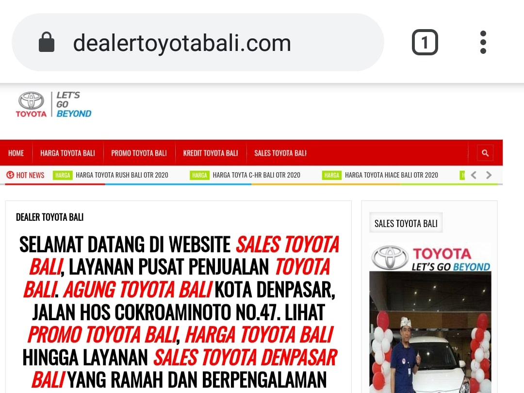 Website Dealer Toyota Bali By Bayu-Media Web & Ads