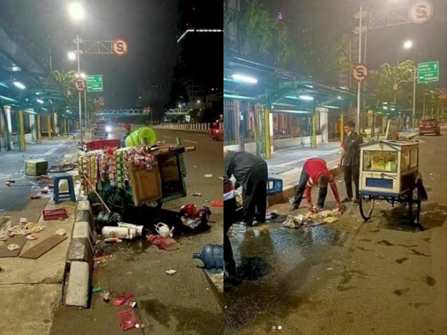 Pedagang Kaki Lima ini Jadi Korban Tabrak Lari, Dagangannya Berhamburan di Jalan