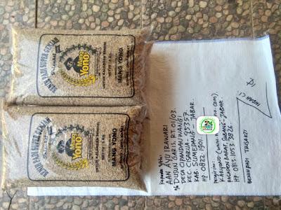 Benih padi yang dibeli AAN AYU IRAWARI Sumedang, Jabar. (Sebelum packing karung ).