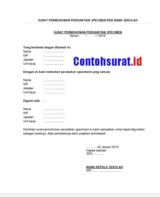 Contoh Surat Pergantian Specimen Rekening Sekolah   Mandiri, BRI, BNI, BTN, Bukopin dan Bank Aceh   Contohsurat.id