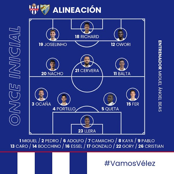 Vélez CF - Málaga, alineaciones oficiales
