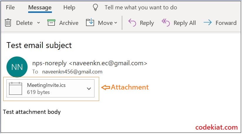 Outlook email format from salesforce apex