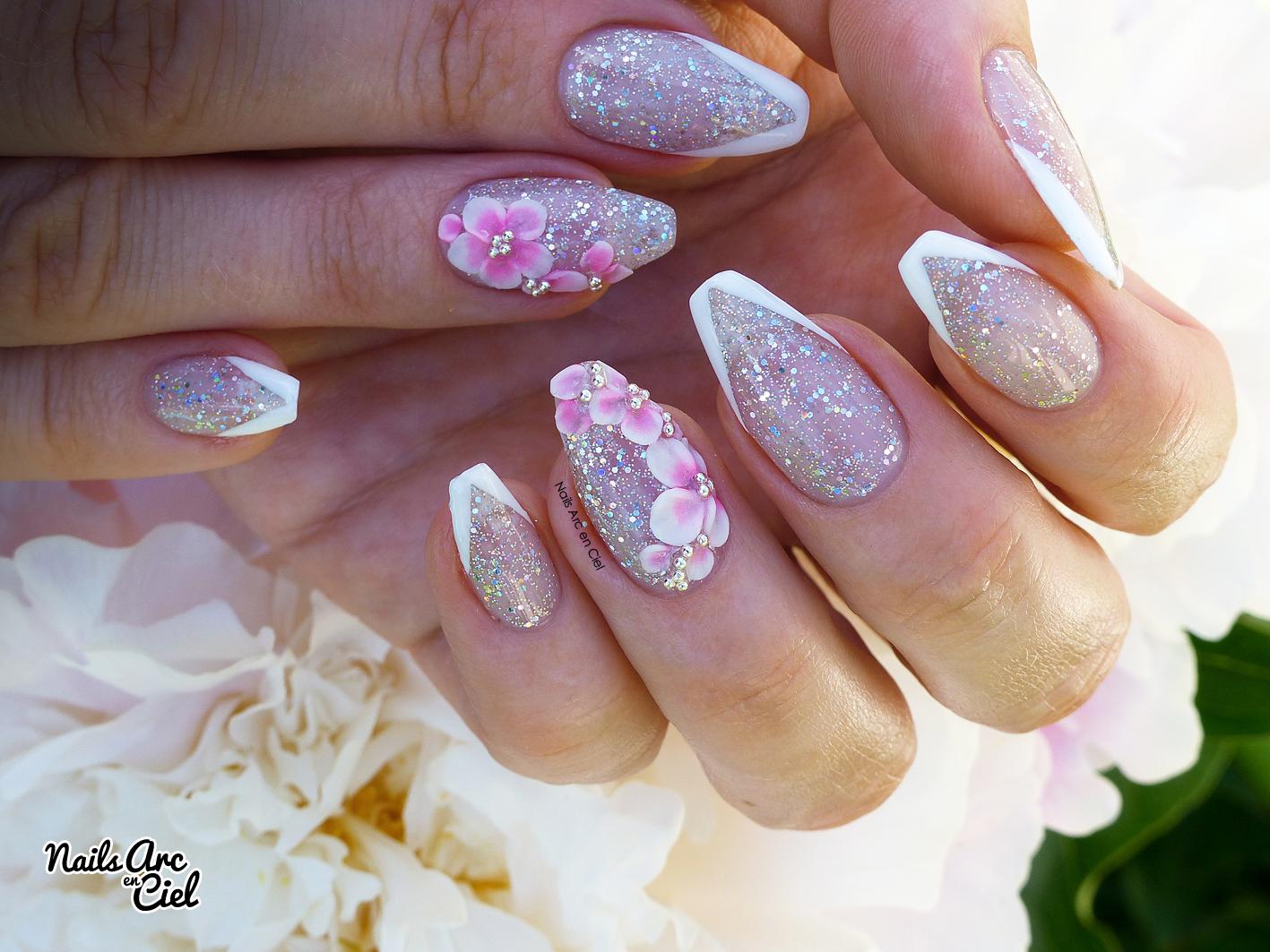 Nails Arc En Ciel Nail Art Id E Mariage Fleurs En R Sine Acrylique 3d