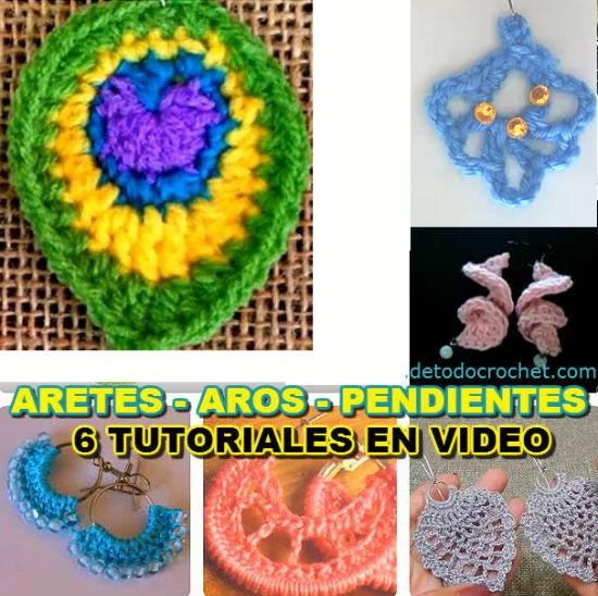 Aretes, pendientes, aros tejidos al crochet DIY / 6 Tutoriales en ...