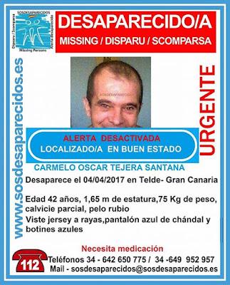 Carmelo Óscar Tejera Santana, hombre de Telde que se encontraba en paradero desconocido desde el 4 de abril ha sido localizado en encontrado en  buen estado