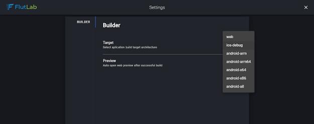 flutter flutlab interface prefereneces ios debug