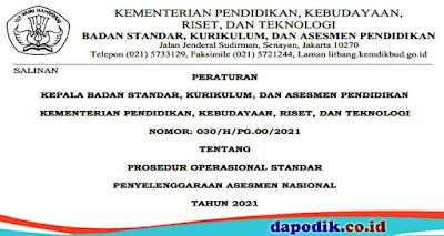JUKNIS PENYELENGGARAAN ASESMEN NASIONAL (AN) TAHUN PELAJARAN 2021/2022