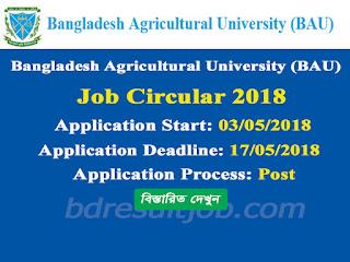 Bangladesh Agricultural University (BAU) Job Circular 2018