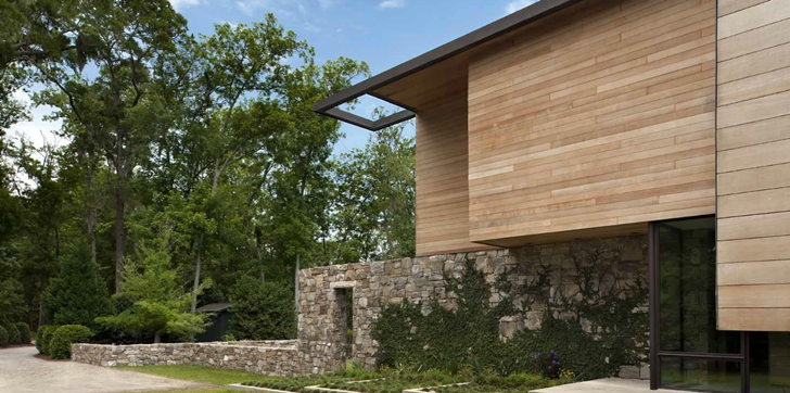 Stone and wood on Modern house design by James Choate