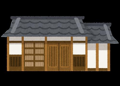 平屋の古民家のイラスト