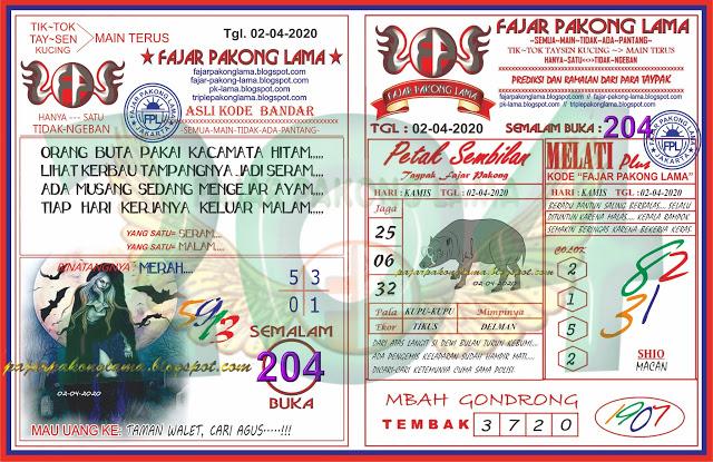 Prediksi SGP Hari Ini Kamis 02 April 2020 - Fajar Pakong Lama