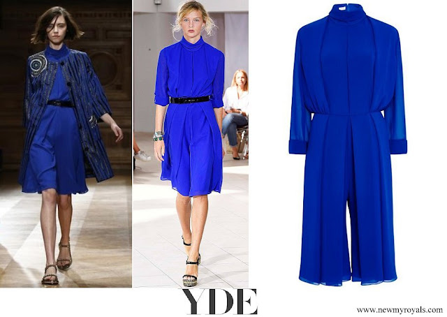 Crown Princess Mary wore Ole YDE Copenhagen royal blue jumpsuit Spring Summer 2016