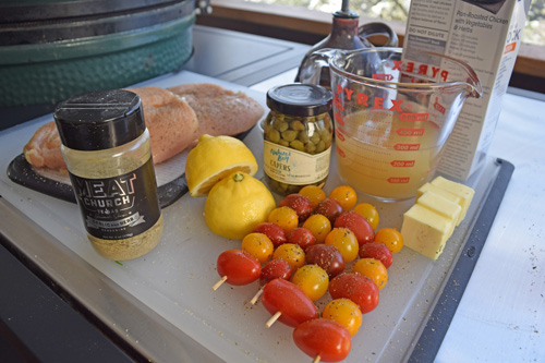 Mise en place for making grilled chicken piccata