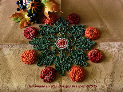 Burnt Orange and Copper Flower Doily By Ruth Sandra Sperling at RSS Designs In Fiber Shop on Etsy