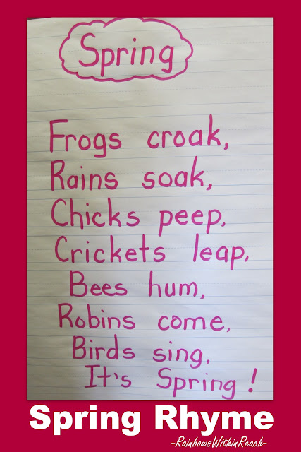 photo of: Kindergarten spring rhyme, frog rhyme, bird rhyme, handwriting