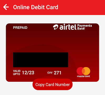 Online debit card by Airtel thanks wallet